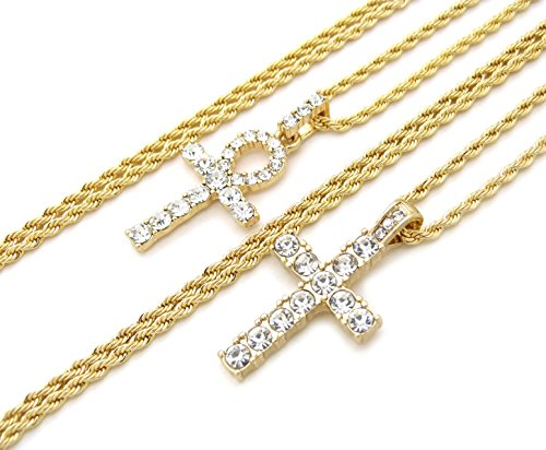 (Fashion 21 Egyptian Iced Out Ankh, Cross Pendant 20