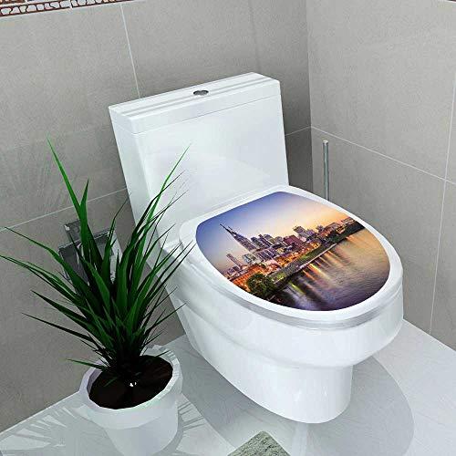 Auraise-home Waterproof self-Adhesive Nashville Tennessee Toilet Seat Vinyl Art Stickers W15 x -