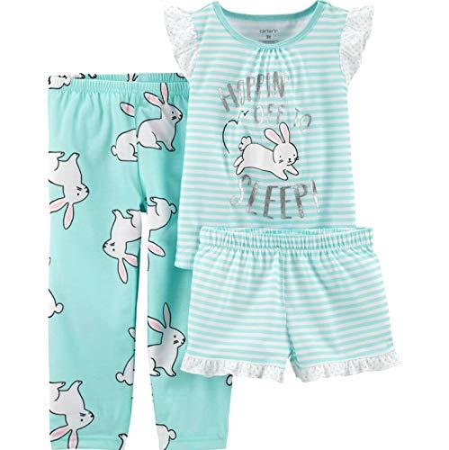Carter's Girls 3-Piece Jersey Pajama (Turquoise/Bunny, 12) ()