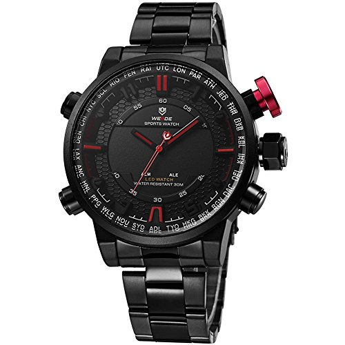 VOEONS Men's Black Stainless Steel Classic Watch Waterproof Wrist Watches for Men by VOEONS (Image #1)
