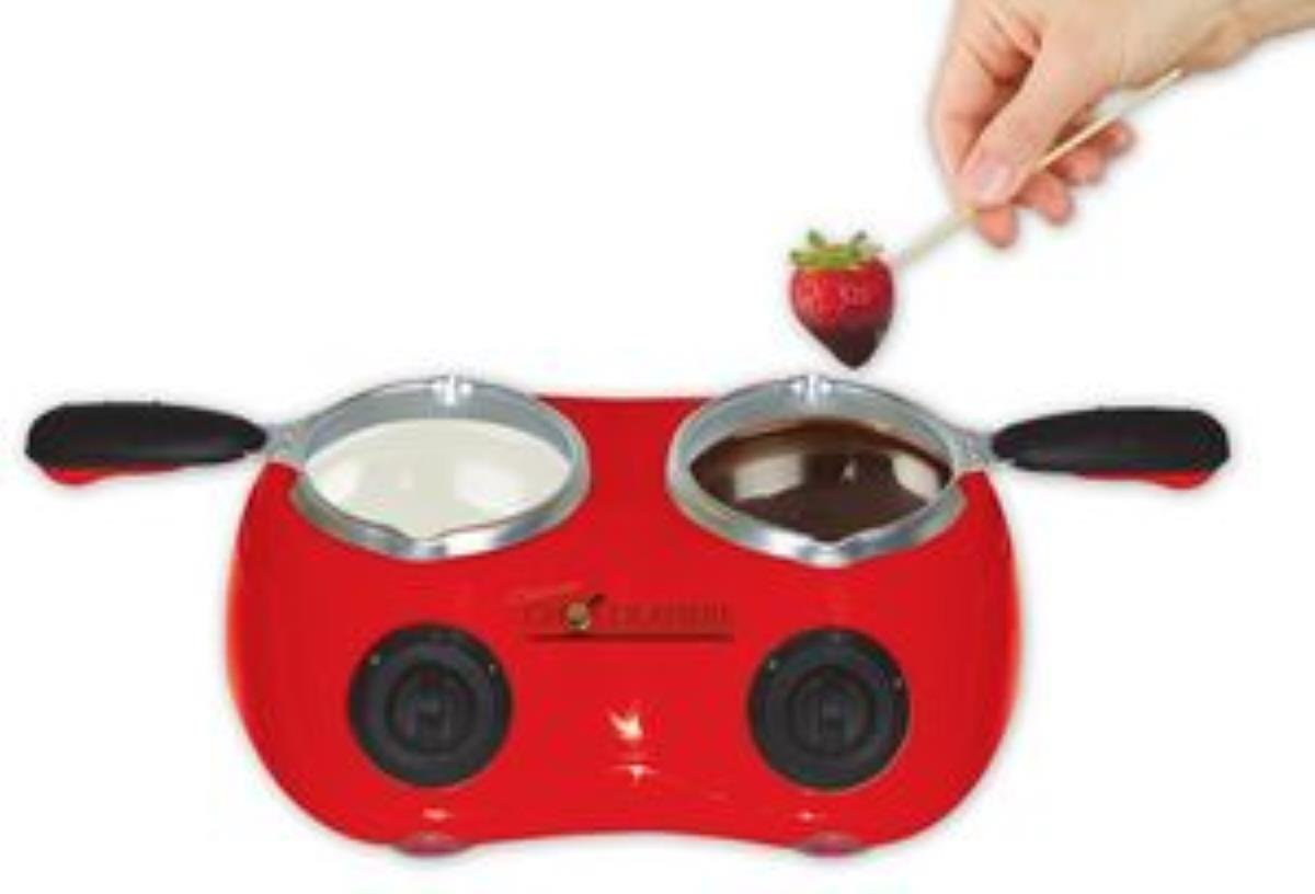 Total Chef CM20G Deluxe Chocolatiere Electric Fondue with Two Melting Pots (Red) Koolatron