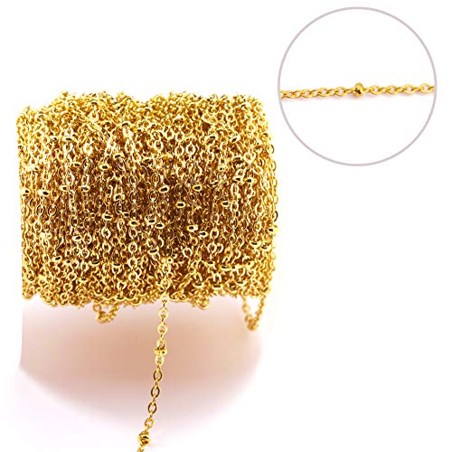 Tiparts 33 Feet 18K Gold Plated Stainless Steel Satellite Chains Beaded Ball Cable Thin Chains Necklace Spool Bulk for Jewelry Making(Gold Chain Width:2mm;Bead Diameter:3mm)