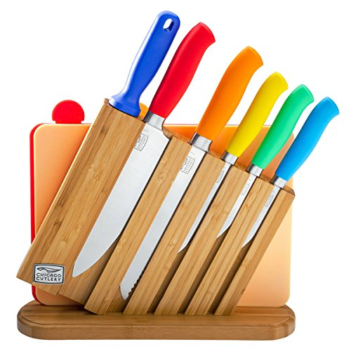- Chicago Cutlery Kinzie 9 Piece Knife Set: Professional Kitchen Knives, Knife Block, Knife Sharpener, Cutting Board and Colorful Handles