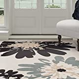 Lavish Home Flower Area Rug, 3'3″ by 5′, Blue/Ivory Review