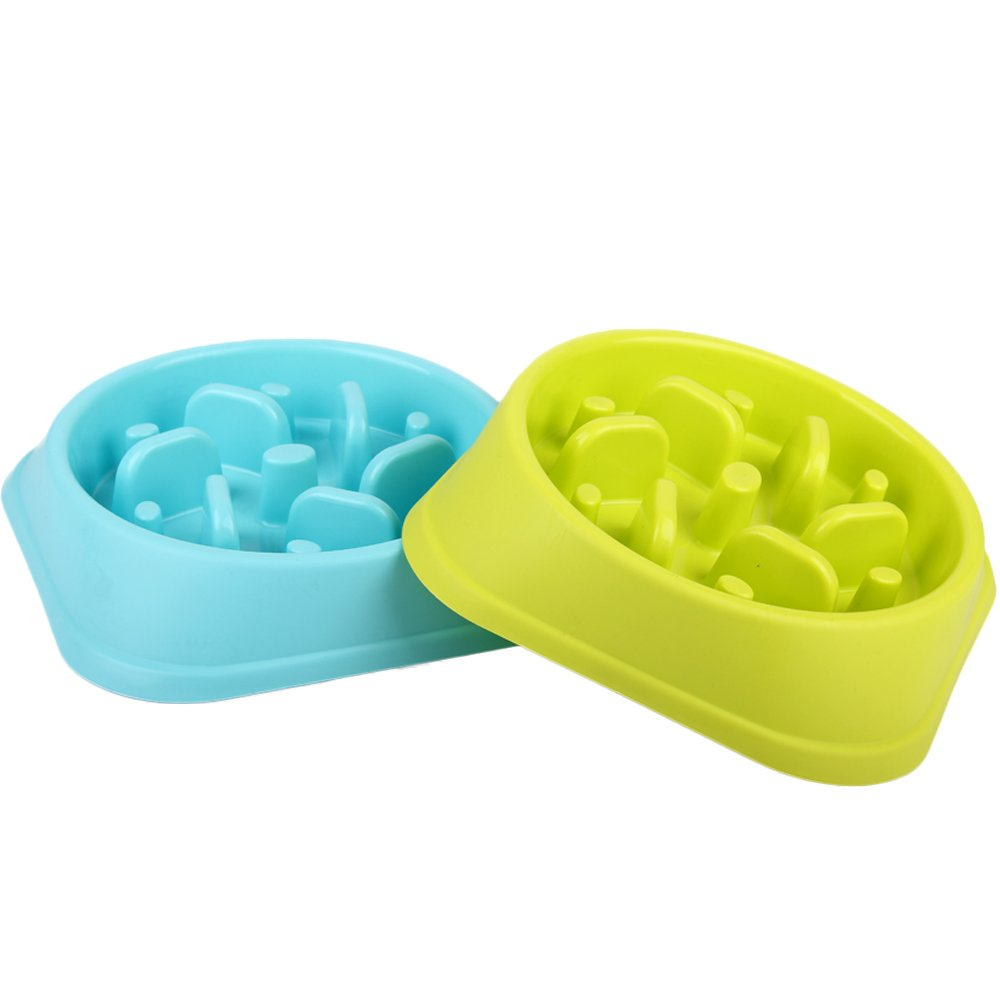 BIBSS Slow Eating Pet Food Bowl Healthy Eating Interactive Stop Bloat Dog Slow Feedder Puzzle Bowl 7.2x7.9x1.8inches (Blue+Green) (Blue+Green)