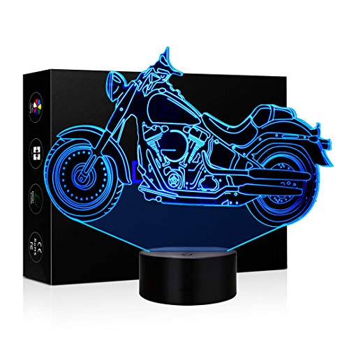 3D Illusion Lamp LED Night Light 7 Colors Touch Switch Table Desk Lamps for Home Office Childrenroom Theme Decoration and Kiddie Kids Children Family Holiday Gift (Harley Motorcycle) -