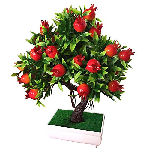 (Floralby Potted Artificial Tree Fruit Pomegranate Plant Bonsai DIY Home Wedding Party Decor Photography Props)