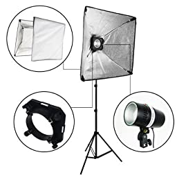 LimoStudio Photo Studio Four Monolight Strobe Flash Boom Lighting Kit With Carrying Case - 4 Studio Flash/Strobe, 2 Softboxes, 4 Light Stands, 1 Boom, 1 Barndoor, AGG399V2