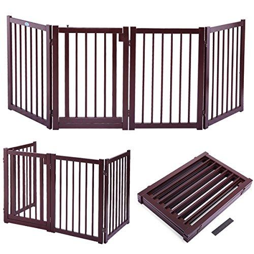 Four Paws Wood Folding 5 Panel Dog Gate 48 110 X 17 Inch H 100521185