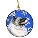 Caroline's Treasures SS4626-CO1 Keeshond Winter Snowflakes Holiday Christmas Ceramic Ornament SS4626, 3 in, Multicolor 4