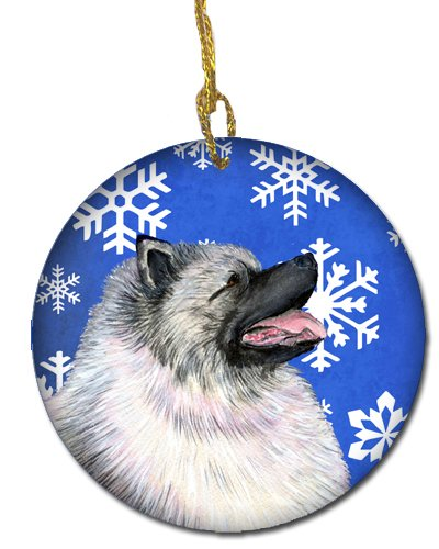 Caroline's Treasures SS4626-CO1 Keeshond Winter Snowflakes Holiday Christmas Ceramic Ornament SS4626, 3 in, Multicolor 2