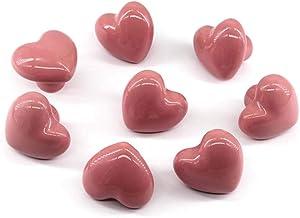 Pink Drawer Knob Ceramic Cabinet Knobs Kids Room Handle Pull Heart Shape for Dresser Drawers (Pack of 8 Screws Included)
