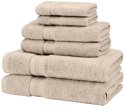 Pinzon Low Twist Pima Cotton 650-Gram 6-Piece Towel Set, Kha