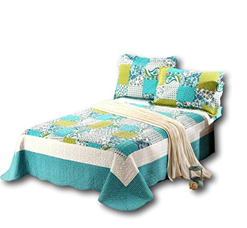 Tache Blue Patchwork Quilt Coverlet - Spring Pond - Reversible Print Floral Bedspread Coverlet Set - 3 Pieces - Queen Size Bed