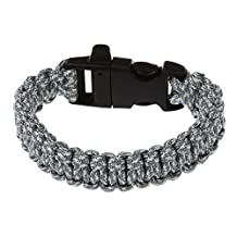 SODIAL(R) 11 Colors 550 Paracord Type III 7 Strand Parachute Cord Survival Bracelet + Whistle Buckle (Camouflage Gray)