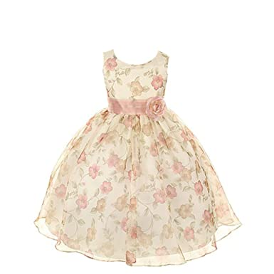 74e7804fc Amazon.com: Kids Dream Girls Organza Floral Special Occasion Dress ...