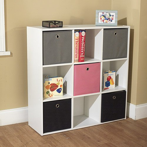 Utility Bookcase Tower with 5 Fabric Bins, Multiple Colors. Perfect for the Hall, Office, Living Room, Kids Bedroom, or Playroom. Efficiently Organize Your Living Space with This Beautiful Bookshelf. The Bins Which Come in Black, Grey, and Either Blue or