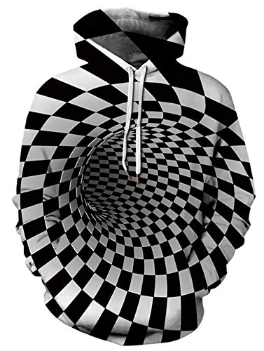 - GLUDEAR Unisex Harajuku 3D Plaid Print Long Sleeve Pullover Hoodie Hooded Sweatshirt,Black&White Plaid,S/M