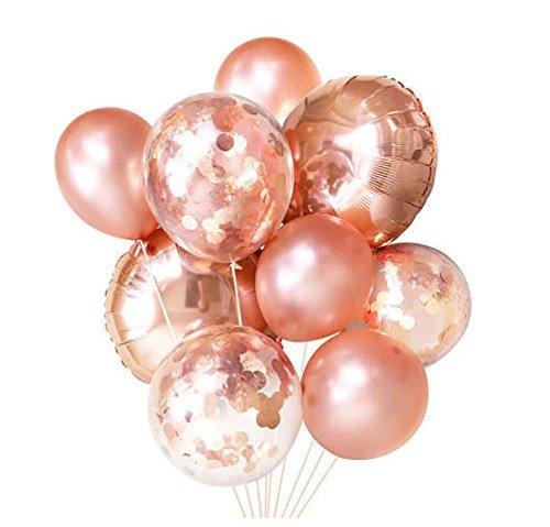 Rose Gold Confetti Balloons | 9 Pack, 2 Large Foil balloons, 3 Rose Gold Confetti Pre filled, 4 Solid light Rose gold balloons | Elegant Latex Party Balloons for Weddings, Birthdays, Bridal Showers, B