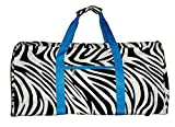 21 in Print Duffle, Overnight, Carry on Bag with Outside Pocket and Shoulder Strap (Zebra with Aqua Trim)
