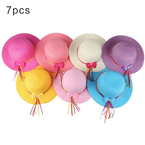 Girls Bow Straw Tea Party Hat Set (7 Pcs, Assorted Colors) -