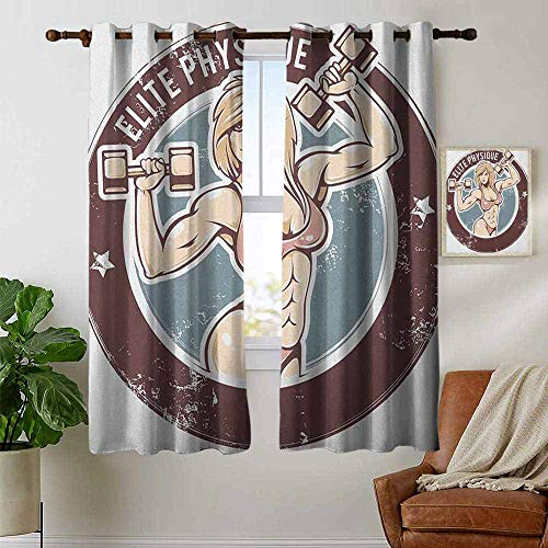 "Customized Curtains Fitness,Retro Style Sexy Lady with Dumbbells Elite Physique Grunge Display, Chocolate Pale Pink Blue,Blackout Thermal Insulated,Grommet Curtain Panel 1 Pair 42""x54"""