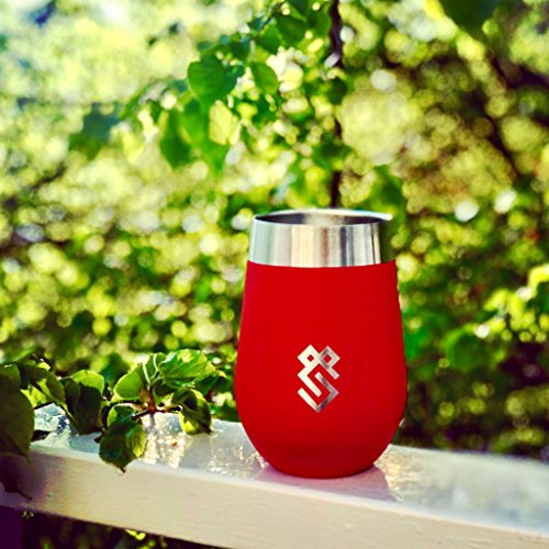 Summit Outdoor Wine Glasses, Vacuum Insulated Wine Tumbler With Lid, Stemless Metal Cup Design, Stainless Steel, Unbreakable, Shatterproof, Portable, Set of 2, Home, Travel or Camping. Dishwasher Safe