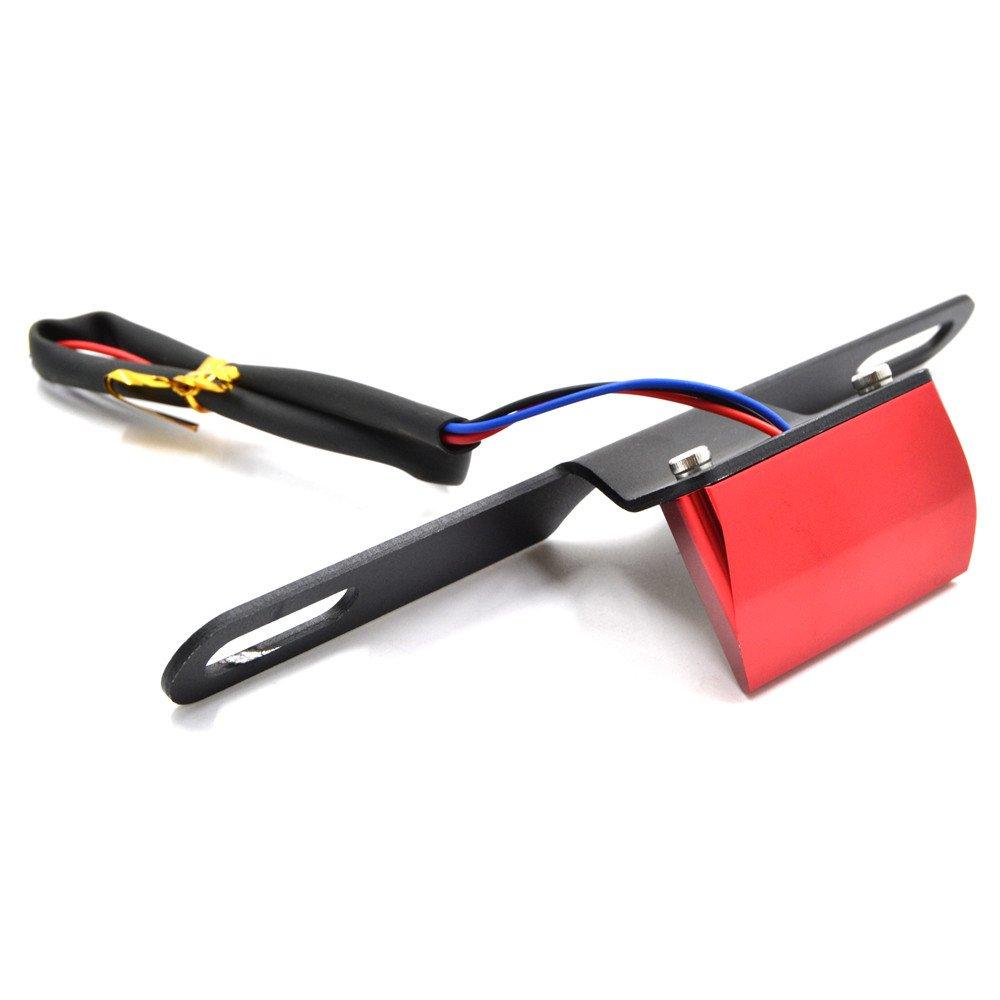 Red BJ Global sportbike Plate LED ligh License Plate LED Light Lamp Bulbs bracket Number Plate Light for Motorcycle