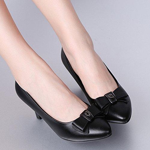 Pumps Arbeit Comfy Heel Schuhe High Bow Schuhe Geschlossene Womens Kitten Beleg Heels Office Auf Court Mid Zehe Damen OqYwZx0