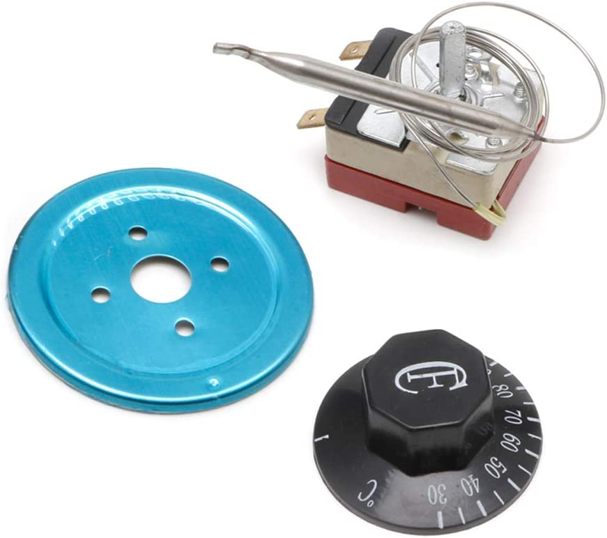 jiheousty Commutateur de Capillaire de Bouton de Thermostat de contr/ôleur de temp/érature de 250V 16A 30-110 Celsius