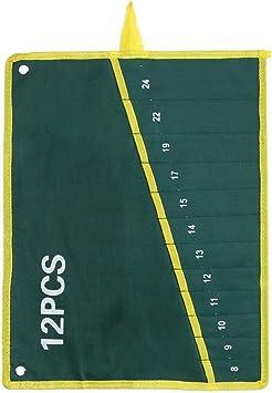 Durable Bolsa de Herramientas de Lona Llave Organizador de Bolsa llaves fijas Almacenamiento Bolsa con Verde 6/8/10/12/14/25 Bolsillos(12 Pockets): Amazon.es: Bricolaje y herramientas