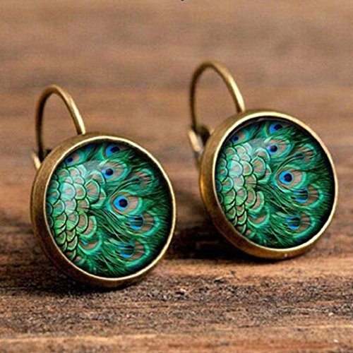 (Auch Vintage Retro Women Glass Round Peacock Feather Ear Stud, Fashion Pierced Earrings, Gold)