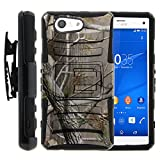 Xperia Z3 Compact Case, Xperia Z3 Compact Holster, Two Layer Hybrid Armor Hard Cover with Built in Kickstand for Sony Xperia Z3 Compact D5803 D5833 from MINITURTLE | Includes Screen Protector - Hunter Camouflage
