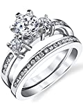 Sterling Silver Cubic Zirconia 1.15 Carat TW Round Cut Wedding Engagement Ring 2 Piece Set Band SZ7