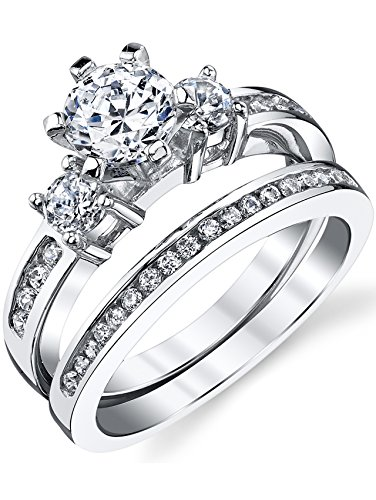 (Sterling Silver Cubic Zirconia 1.15 Carat TW Round Cut Wedding Engagement Ring 2 Piece Set Band SZ7)