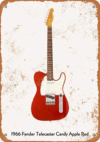 (Guitar Art - Vintage Look Metal Sign Wall Décor - 1966 Fender Telecaster Candy Apple Red Wall Plaque Sign 12X18 Inch)