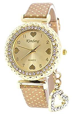 COCOTINA® Fashion Women Bracelet Bangle Leather Crystal Dial Quartz Analog Wrist Watch Khaki