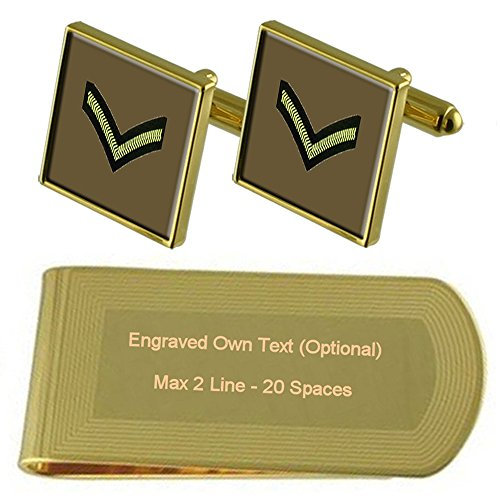 Money Lance Rank Set Gold Gift tone Engraved Army Insignia Cufflinks Clip Corporal pSxEw70q