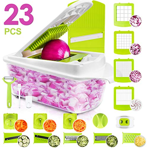 Sedhoom 23 in 1 Vegetable Chopper Food Chopper Onion Chopper Mandoline Slicer w/ Large Container, 2nd Generation