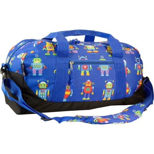 Wildkin Overnighter Duffel Bag, Features Moisture-Resistant Lining and Padded Shoulder Strap, Perfect for Sleepovers, Sports Practice, and Travel, Olive Kids Designs – Robots