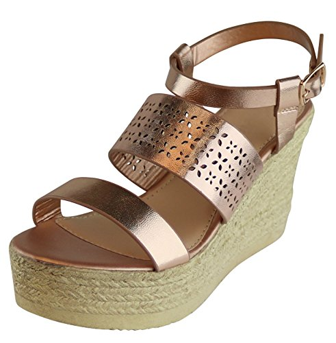 Cambridge Select Women's Open Toe Strappy Laser Cutout Espadrille Platform Wedge Sandal (5.5 B(M) US, Rose Gold PU) (Espadrille Platform Sandals Wedge)