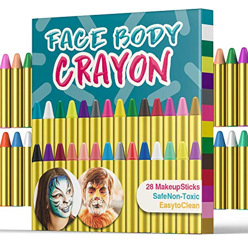 UNEEDE Halloween Makeup 28 Colors Face Paint Crayons Safety and Non-Toxic Face Body Painting Sticks for Toddler, Children, Kids, Teens and Adult Easter Halloween Christmas Makeup Theme Party Supplies