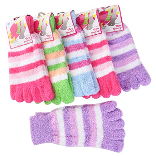 FENICAL Women Rainbow Striped Toes Socks Warm Socks Pack of 6 ()