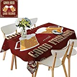 UHOO2018 Square/Rectangle Polyesters Tablecloth Good Beer with Good Friends Lettering Two Big Glass