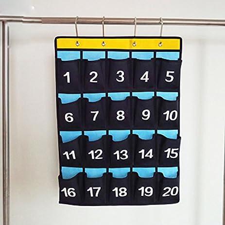 Amazon lecent 20 pocket classroom pocket chart for cell phones lecent 20 pocket classroom pocket chart for cell phones business cards wall door closet colourmoves