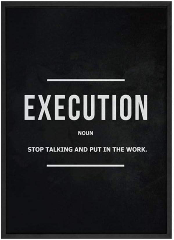 YANGMENGDAN Stampa su Tela Grind Hustle Execution Wall Art Stampe su Tela Decorazioni per Ufficio Motivazionale Arte Moderna Imprenditore Motivazione Pittura Immagini 50x70cmx3pz Senza Cornice