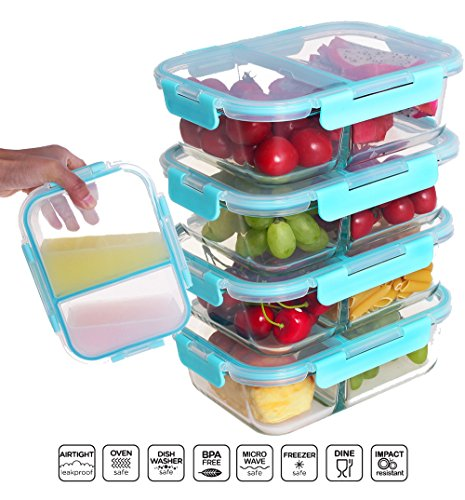 [4 PACK] FreshSav Series 35.5 oz Compartmentalized Glass Meal Prep Food Storage Containers Set Airtight locking Lids | Microwave, Freezer, Oven & Dishwasher Safe (2 Sealed Compartments Set)