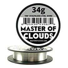 SS 316L - 100 ft. 34 Gauge AWG Stainless Steel Resistance Wire 0.16 mm 34g 100' by Master Of Clouds