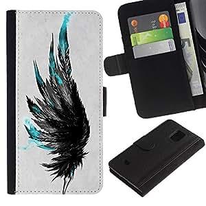 KingStore / Leather Etui en cuir / Samsung Galaxy S5 Mini, SM-G800 / Gris Raven Oiseau profonde Art