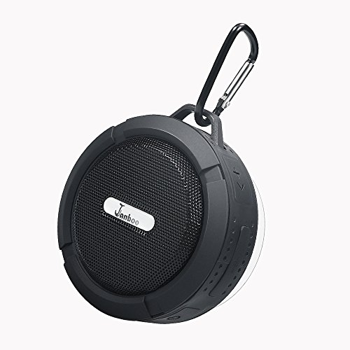 Janboo Shower Wireless Bluetooth Waterproof/Water Resistant Portable Speaker with 5W Driver Suction Cup Built-in Mic Hands-Free Speakerphone for iPhone Ipad Android and More (Black) ()
